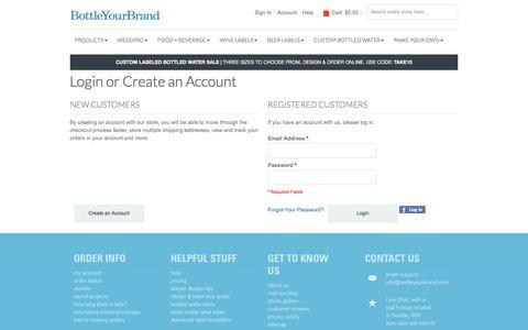 Screenshot of Login Page bottleyourbrand.com - Customer Login - captured Aug. 3, 2018