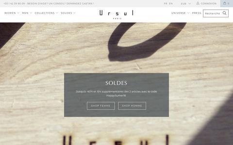 Screenshot of Home Page ursul.com - URSUL PARIS   Unisex Designer Jewelry - Hand Made Paris - captured July 7, 2018