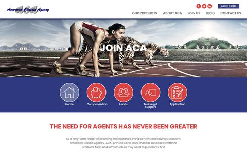 Screenshot of Signup Page aclassic.com - Join ACA | American Classic Agency - captured Nov. 9, 2018