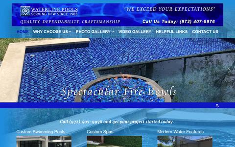 Screenshot of Home Page waterlinepools.com - Waterline Pools – Dallas Swimming Pool Contractor - captured Nov. 6, 2018