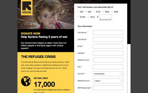 Screenshot of Landing Page rescue.org - Help Refugees  | International Rescue Committee - captured Nov. 9, 2016