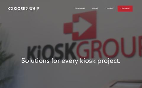Screenshot of Home Page kioskgroup.com - Kiosk Group | Specializing in kiosk enclosures & software - captured Feb. 12, 2016