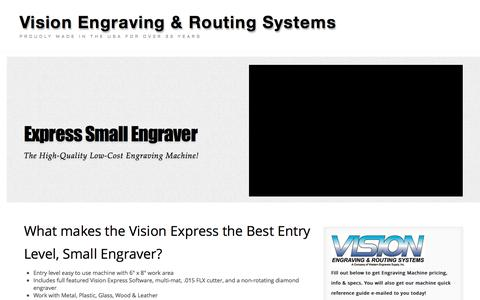 Screenshot of Landing Page visionengravers.com - Express Engraving Machine   Small Engraver   Vision Engraving & Routing Systems - captured Oct. 19, 2016