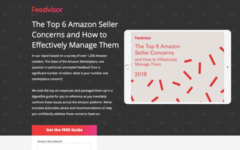 Screenshot of Landing Page feedvisor.com - The Top 6 Amazon Seller Concerns and How to Effectively Manage Them - captured Sept. 20, 2018