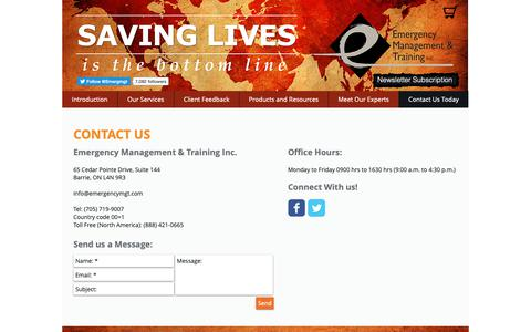 Screenshot of Contact Page emergencymgt.com - Training | Barrie | Emergency Management & Training Inc | Contact Us Today - captured Sept. 28, 2018