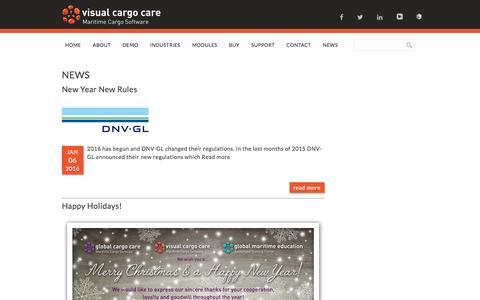 Screenshot of Press Page visualcargocare.com - NEWS - Visual Cargo Care - captured Jan. 11, 2016