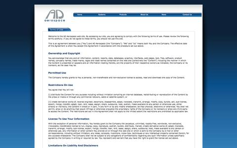 Screenshot of Terms Page ad-aero.com - AD Aerospace : Terms of Use - captured Oct. 4, 2014