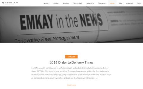 Screenshot of Press Page emkay.com - Emkay Vehicle Fleet Managment News | Emkay News - captured Oct. 9, 2016