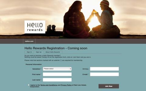 Screenshot of Signup Page redlion.com - Hello Rewards - captured Sept. 19, 2014