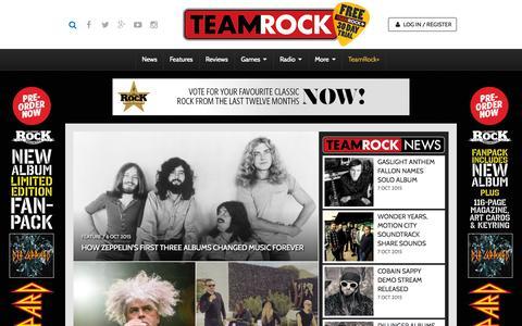 Screenshot of Home Page teamrock.com - TeamRock - captured Oct. 7, 2015