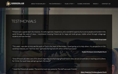 Screenshot of Testimonials Page missionlab.com - Testimonials | Missionlab - captured Oct. 9, 2014