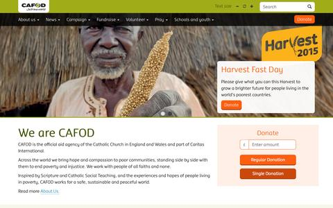 Screenshot of Home Page cafod.org.uk - CAFOD - We are CAFOD - captured Oct. 1, 2015