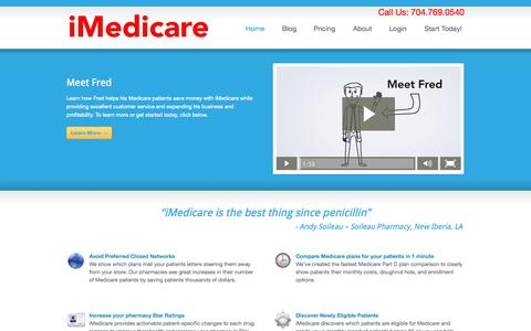 Screenshot of Home Page imedicare.com - Home « iMedicare iMedicare - captured Jan. 26, 2015