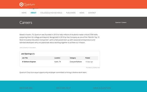 Screenshot of Jobs Page querium.com - Careers | Querium - captured May 9, 2017