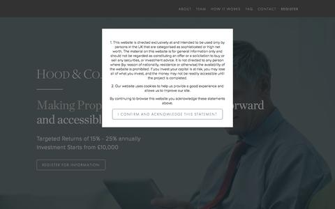 Screenshot of Home Page hoodandcompany.co.uk - Hood & Co. Investments - captured Sept. 18, 2015