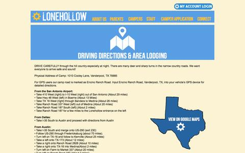 Screenshot of Maps & Directions Page lonehollow.com - Driving Directions- Camp Lonehollow for boys and girls - captured Dec. 13, 2015