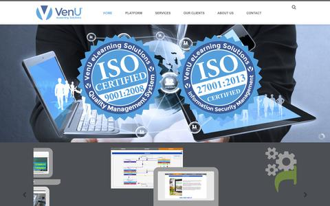 Screenshot of Home Page ven-u.com - VenU eLearning Solutions | Anytime. Anywhere. Any Device. - captured Nov. 7, 2018