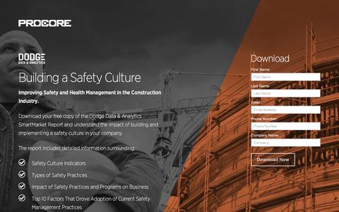 Screenshot of Landing Page procore.com - Building a Safety Culture - captured April 27, 2016
