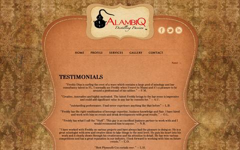 Screenshot of Testimonials Page alambiq.com - Testimonials | AlambiQ - captured Oct. 4, 2014
