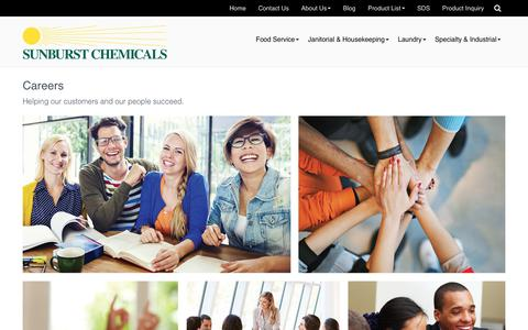 Screenshot of Jobs Page sunburstchemicals.com - Careers at Sunburst Chemicals - Sunburst Chemicals - captured Sept. 21, 2018