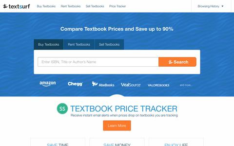 Screenshot of Home Page textsurf.com - Compare Textbook Prices | Textsurf - captured Oct. 24, 2018