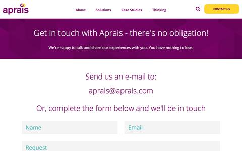 Screenshot of Contact Page aprais.com - Get Started - Aprais - captured July 30, 2018