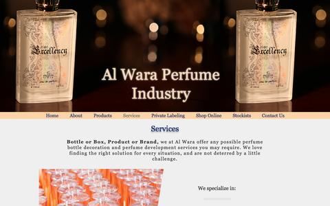 Screenshot of Services Page esteviauae.com - Al Wara Perfume Industry, Estevia Parfum, Dubai   Services - captured Nov. 20, 2016