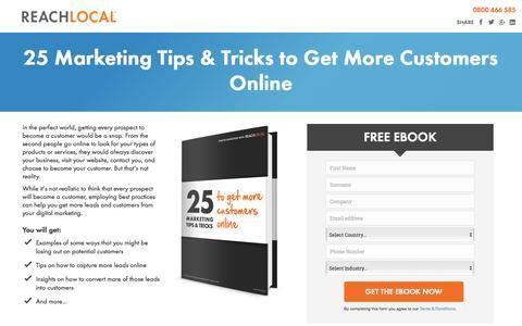 Screenshot of Landing Page reachlocal.com - Smart Online Marketing   Ebook-25 Ways to Get More Customers - captured April 20, 2016