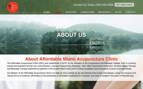 Screenshot of About Page acuclinicmiami.com - Affordable Miami Acupuncture Clinic Cutler Bay - About - captured Oct. 3, 2018