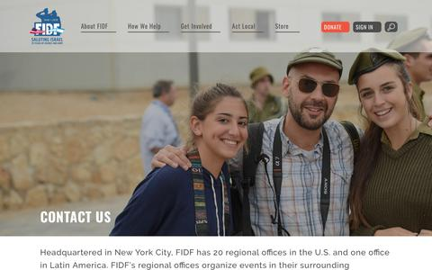 Screenshot of Contact Page fidf.org - Contact Us | Friends of the Israel Defense Forces - captured March 13, 2018