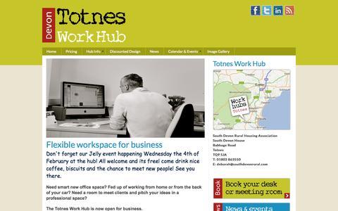 Screenshot of Home Page totnesworkhub.co.uk - Totnes Work Hub - captured Jan. 26, 2015