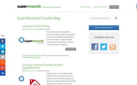 Screenshot of Blog superrewards.com - SuperRewards Growth Blog - More users. More money. - captured July 4, 2016