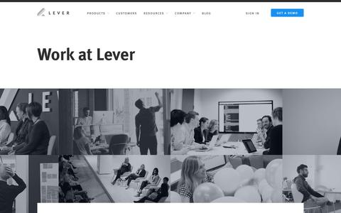 Screenshot of Jobs Page lever.co - Careers - captured Dec. 2, 2017