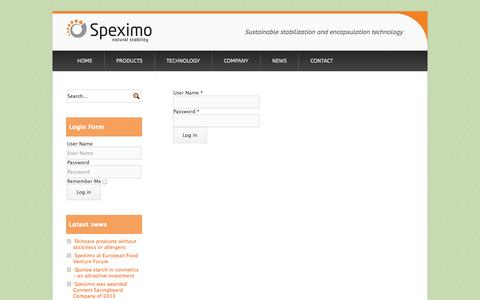 Screenshot of Login Page speximo.com - login - Speximo | Starch Pickering Emulsion Technology - captured Oct. 6, 2014
