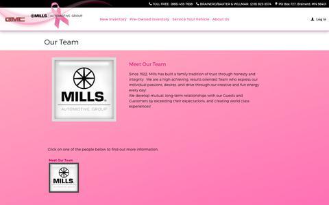 Screenshot of Team Page millsauto.com - Mills Automotive Group | New Dodge, Jeep, Toyota, Buick, Ford, Chrysler, GMC, Lincoln, Honda, Nissan, Ram dealership in Brainerd, MN 56401 - captured Oct. 18, 2018