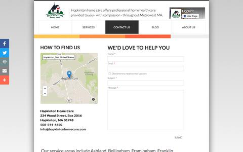 Screenshot of Privacy Page Contact Page hopkintonhomecare.com - Contact Hopkinton Home Care Throughout Metrowest Health Care - captured July 22, 2018