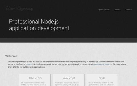 Screenshot of Home Page umbraengineering.com - Umbra Engineering - captured Oct. 7, 2014