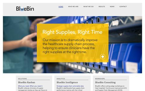 Screenshot of Home Page bluebin.com - Home - BlueBinBlueBin | Right supplies – right time - captured Sept. 13, 2015