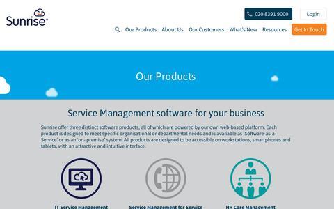 Screenshot of Products Page sunrisesoftware.com - Service Management Solutions from Sunrise Software | Sunrise Software - captured Sept. 22, 2015