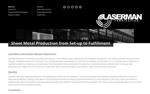 Screenshot of About Page lasermanfab.com - LaserMan Fabrication » Sheet Metal Production from Set-up to Fulfillment - captured Oct. 2, 2014
