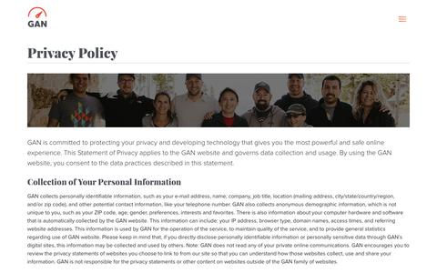 Screenshot of Privacy Page gan.co - Privacy Policy - GAN - captured Sept. 28, 2018
