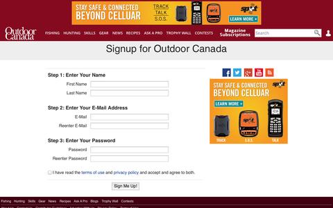 Screenshot of Signup Page outdoorcanada.ca - Signup for Outdoor Canada - Outdoor Canada - captured Nov. 3, 2014