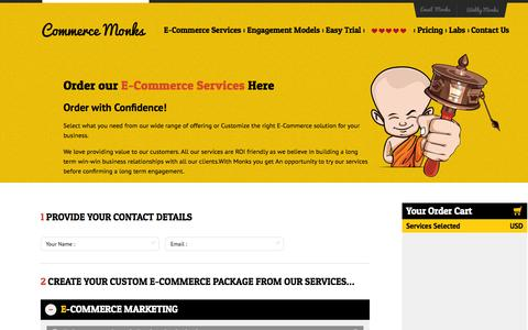 Screenshot of Pricing Page commercemonks.com - Order Your E-Commerce Services at Affordable Price from Commerce Monks - captured Sept. 19, 2014