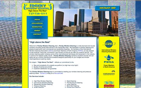 Screenshot of Home Page finickywindowcleaning.com - Finicky Window Cleaning and pressure washing services for commercial and residential.  Serving Tampa Bay, Dunedin, Tampa, Clearwater, Oldsmar, Belleaire, Safety Harbor, West Chase, Tarpon Springs - captured Sept. 8, 2015