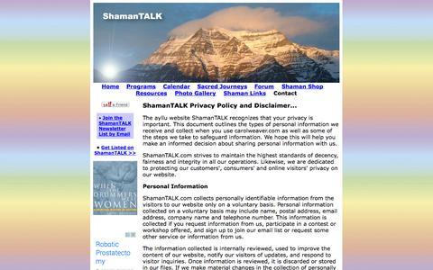 Screenshot of Privacy Page carolweavercreative.com - >>>  How to contact us @ ShamanTALK <<< - captured Sept. 30, 2014