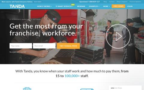 Screenshot of Home Page tanda.co - Time & Attendance Software | Workforce Management | Tanda - captured May 6, 2017