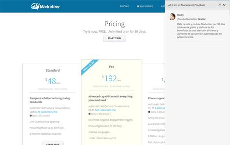 Screenshot of Pricing Page marketeer.co - Plans and Pricing · Marketeer - captured March 2, 2016