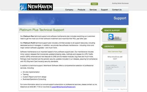 Screenshot of Support Page newhavensoftware.com - Support - NewHaven Software - captured Aug. 13, 2016