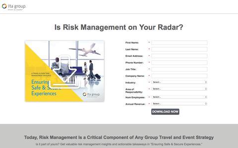Screenshot of Landing Page itagroup.com - Ensuring Safe & Secure Experiences | ITA Group - captured April 27, 2017