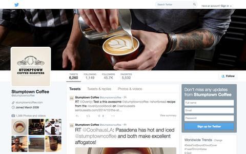 Screenshot of Twitter Page twitter.com - Stumptown Coffee  (@stumptowncoffee) | Twitter - captured Oct. 25, 2014